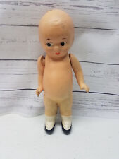 Small Folk Americana 20th Century Hinged Doll with Socks and Shoes