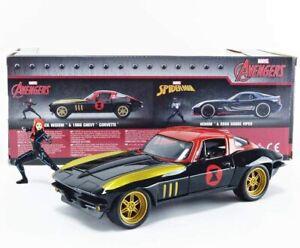 Jada JAD31749 1/24 1966 Chevrolet Corvette Avec Black Widow, Marvel Avengers
