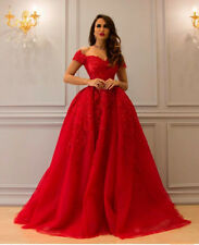 Red Lace Appliques Prom Dresses Vintage Evening Wedding Pageant Ball Party Gown
