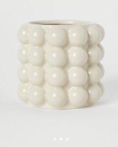 H&M Cream Bubbled Stoneware Plant Pot/ Vase Small 14.5cm x 16cm SOLD OUT RARE