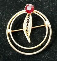 Vintage Brooch Lapel Scarf Pin Goldtone Circle Red Crystal Stone Costume 6596F