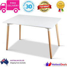 6 Seater Table Dining Rectangular White Wooden Scandinavian Style Wood Lacquer