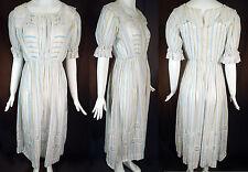 Vintage Edwardian White Cotton Blue Yellow Stripe Print Lace Trim Tea Gown Dress