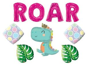 Girl's Pink Dinosaur Happy Birthday Party balloons Decoration Baby Shower