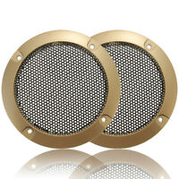2pcs 3 inch Golden Circle Black Net Speaker Circle Decor with Protective Grille
