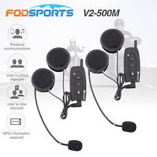 V2-500m Bluetooth BT Motorcycle Helmet Multi Headset Intercom Interphone x2
