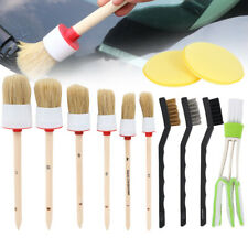 12pc Professional Car Interior Detailing Brush Kit Boar Hair Wheel Cleaning Tool
