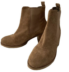 Suede Heeled Ankle Chelsea Boot Softgrey EUR 38 Size 5 Pull On Stretch Mid Heel