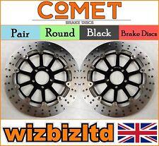 COMET Pair Black Round Front Brake Discs Kawasaki ZZR 1200 C1H/C2H 02-04 R913BK