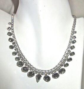 Vintage White & Green/Gray Glamor Rhinestone Adjustable Choker Necklace