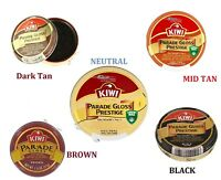 Kiwi Parade Gloss Shoe Polish, Black Boot Neutral Shine 50ml Wax Dark Tan Brown