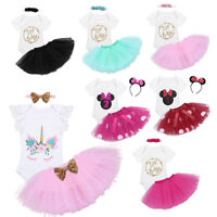 3PCS Baby Girls 1st Birthday Romper Tutu Dress Headband Outfit Party Clothes Set