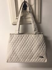 TRAVELON Quilted 3 Compartment Zippered Tote Travel Purse Handbag Many Pockets