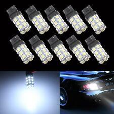 10Pcs T20 7443 W21-5W 27-SMD 5050 Reverse LED Tail Brake Stop Light Bulb White