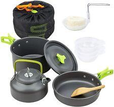 New listing 10Pcs Camping Cookware Set Cooker Outdoor Cooking Mess Kit Pots Pan