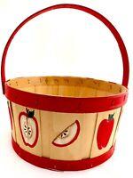 VTG Primitive Apple Picking Storing Basket Wood Handle Slat Farm Picking 80s