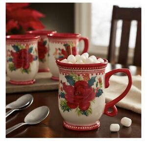 Pioneer Woman Rosy Toile Red Floral 14 oz. Mugs SET OF 4 NEW Christmas Holiday