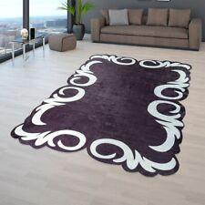 Wohnzimmer Teppich Schwarz Weiß Florale Bordüre Weich Edel Komfort Kurzflor