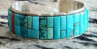 NAVAJO Inlay Corn Row Turquoise and Coral Sterling  Silver Cuff Bracelet MTR