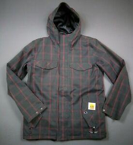 XL Size Men's Ski Coat Burton Charcoal Gray Canvas Red Plaid Stripe Ski Jacket
