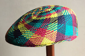 "Genuine Panama Hat Montecristi Flat cap ""Ivy"" Multi colour Men Woman Straw"