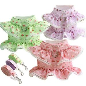 Cute Floral Lace Pet Dog Harness and Leash  Puppy Cat Chest Strap Vest Harnesses