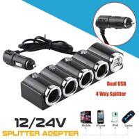 4 Way Car Cigarette Lighter Splitter Multi Socket Dual  Charger 12V-24 USB Plug