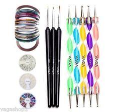 Nail Art Set DIY Kit Gemstone Rhinestones Dotting Tools Brushes Decorations