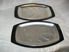 2 vintage Nordicware platter holders with metal plates steaks and more
