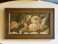 Antique Victorian Still Life Fruit Print Lithograph Framed Harry Roseland