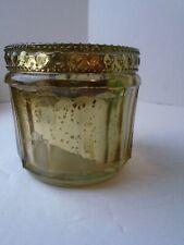 Vintage Cut Glass Dresser Powder Jar Kaleidescope Effect Lid