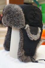 Hunting Aviator Alaskan Trail Rabbit Fur Hat Bomber Black Shell X Large (XL)