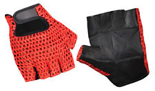 MESH REX LEATHER WEIGHT LIFTING GYM TRAINING DRIVING  WHEELCHAIR GLOVE RED/BLACK