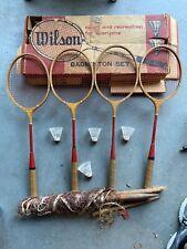 New listing Vintage Antique Wilson ace badminton Set rackets and birdie