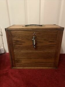 Vintage Wooden Toolbox With Drawers And Lockabe Front Panel