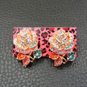 Betsey Johnson Fashion Enamel Women's Colorful Flower Rhinestone Earrings