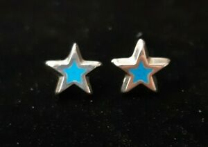 Mexican 925 Sterling Silver earrings turquoise  Stars cute Latina