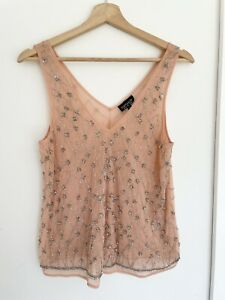 TOPSHOP Womens Pale Pink Flapper Style Beaded Cami Top Size 10