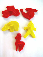 5 VTG Cookie Cutters Horse Car Helicopter Clown Hippopotamus Red Yellow Plastic