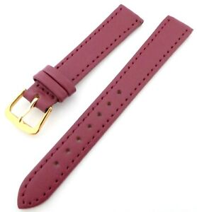 Classic Red Matt Finish Stitched Edges Everyday Watch Strap with Gold Buckle