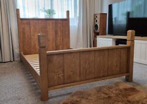 Farmhouse Solid Wood Bed Frame Handmade Dark Oak Waxed