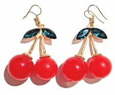 RED CHERRY EARRINGS kitschy retro rockabilly fruits cherry hook pop kawaii 3W