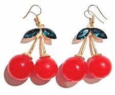 RED CHERRY EARRINGS kitschy retro rockabilly fruits CHERRY hook pop kawaii 3W