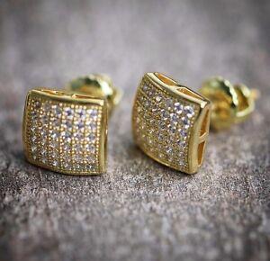 NEW MENS 14K YELLOW GOLD LAB DIAMOND HIP HOP SMALL SCREW BACK MINI STUD EARRINGS