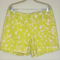 The Limited Womens Shorts Size 12 Green White Floral Cotton Blend Stretch