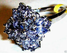 PURPLE TANZANITE MARQUISE & ROUND COCKTAIL RING, 925 SILVER, SIZE 5, 1.12(TCW)