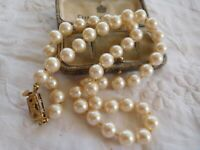 Lovely Vintage 1980s Glass Pearl Necklace signed MONET