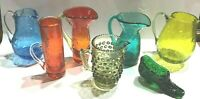 7 Piece Vintage Lot of Crackle & Hobnail, Misc small pitchers & shoe.