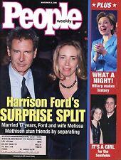 People Mag Nov 20, 2000 Harrison Ford's surprise split & Hilary makes History