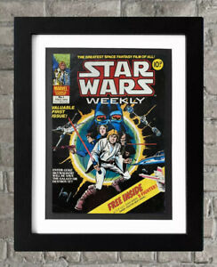 Framed Star Wars Weekly Vintage Comic Book No.1 1978 Man Cave Wall Art Fan Gift